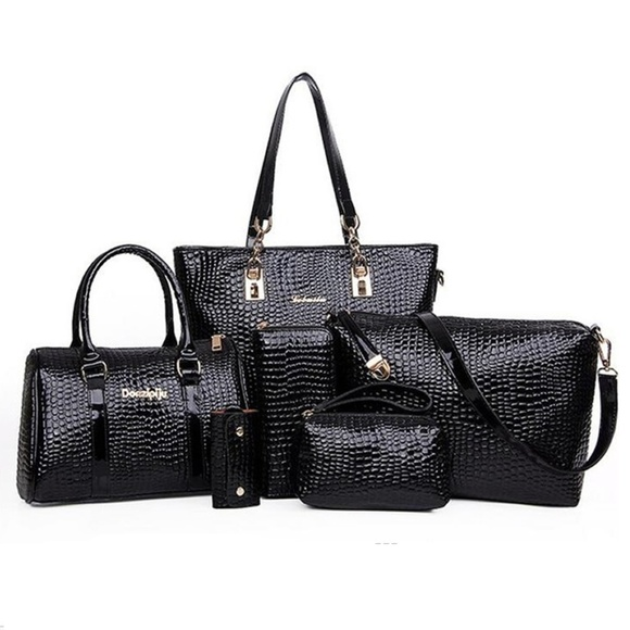 My Bag Lady Online Handbags - Embossed Croc Faux Patent Leather Bag Set